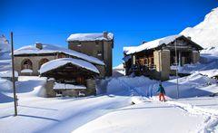Schneeschuhläuferin in Blaunca