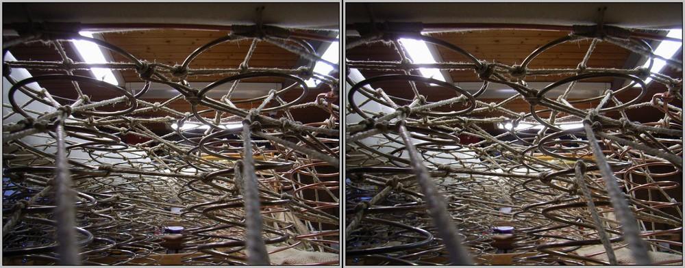 Schnürung eines Sofasitzes 3D Kreuzblick