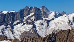SCHRECKHORN (rechts, 4.078m) und Lauteraarhorn (links, 4.042m)