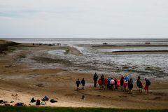Schulunterricht am Wattenmeer bei Rantum (1)
