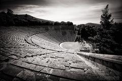 Schwarzweiss-Fotografie: Theater von Epidauros (Griechenland)