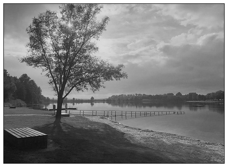 Schwarzweißer Freitag- Spätnachmittag am See