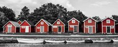 Schwedische Bootshäuser und ihre Boote