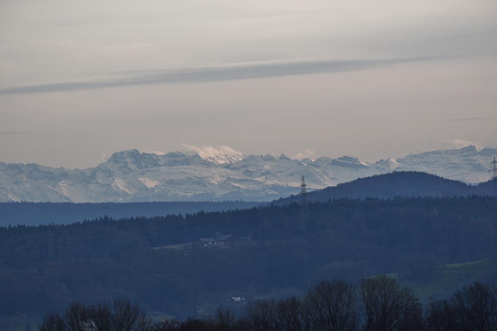 Schweizer Alpen gute Fernsicht vom Hochrhein