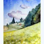 Schweizer Landschaft - Wolken, Wald und Wiese