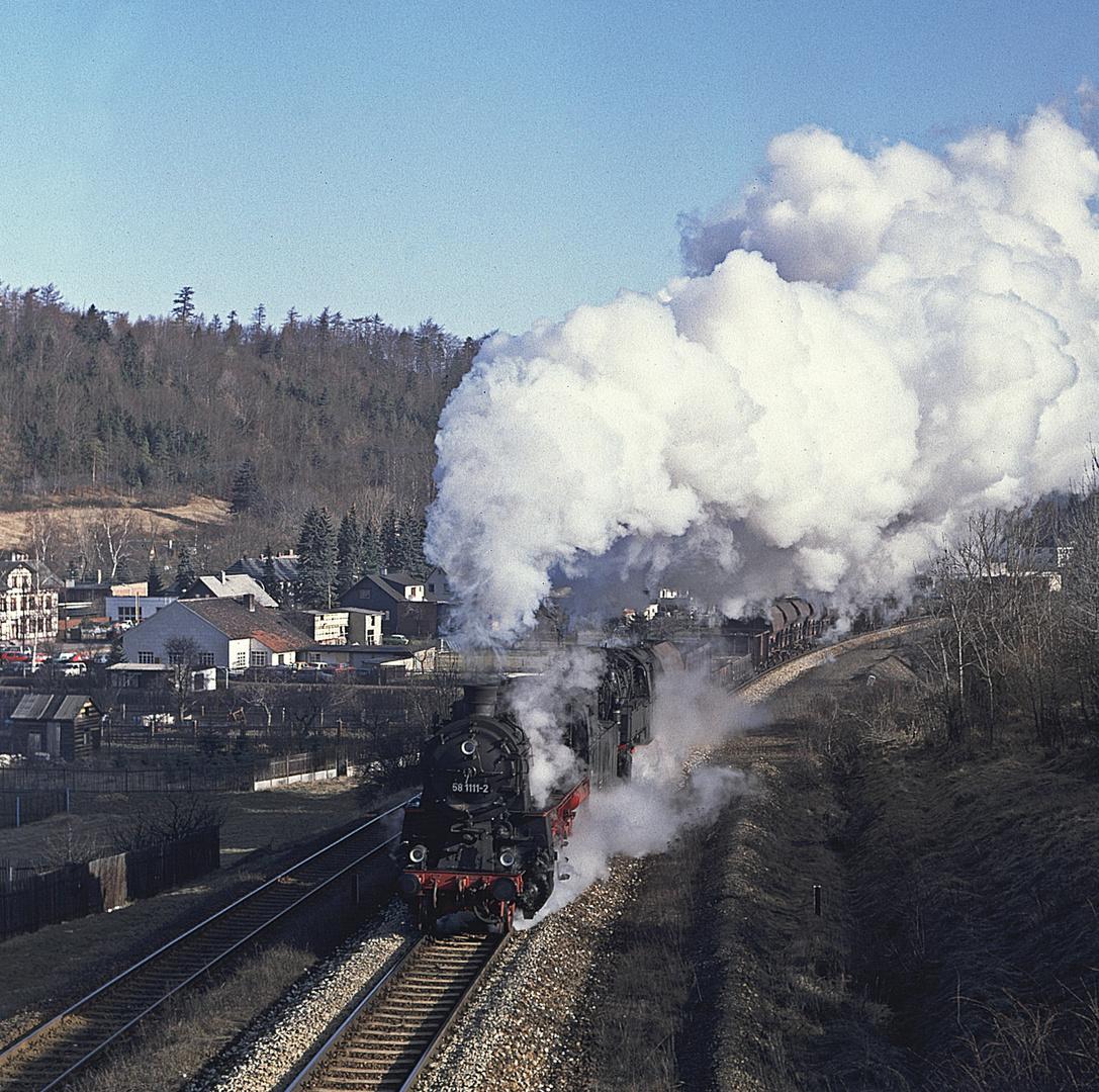 Schwerer Güterzug bei Gräfenroda