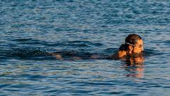Schwimmen in den Sonnenuntergang