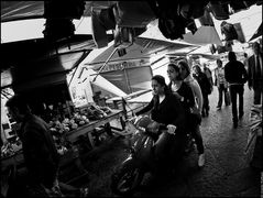 Scooter ride between the market stalls