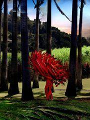 Sculpture moderne dans la plantation Clément