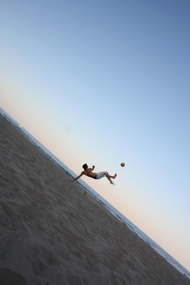 Sea football on beatch