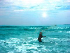 Seashore fisherman