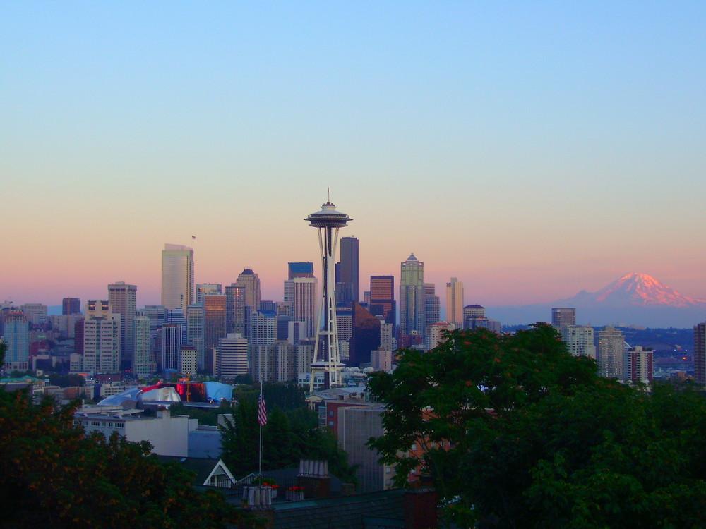 Seattle in der Abenddämmerung