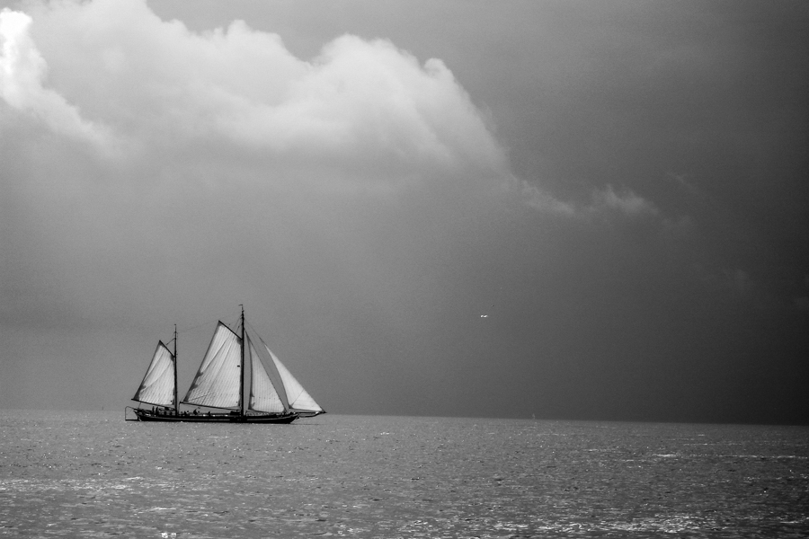 Segeboot vor dem Sturm - Iselmeer