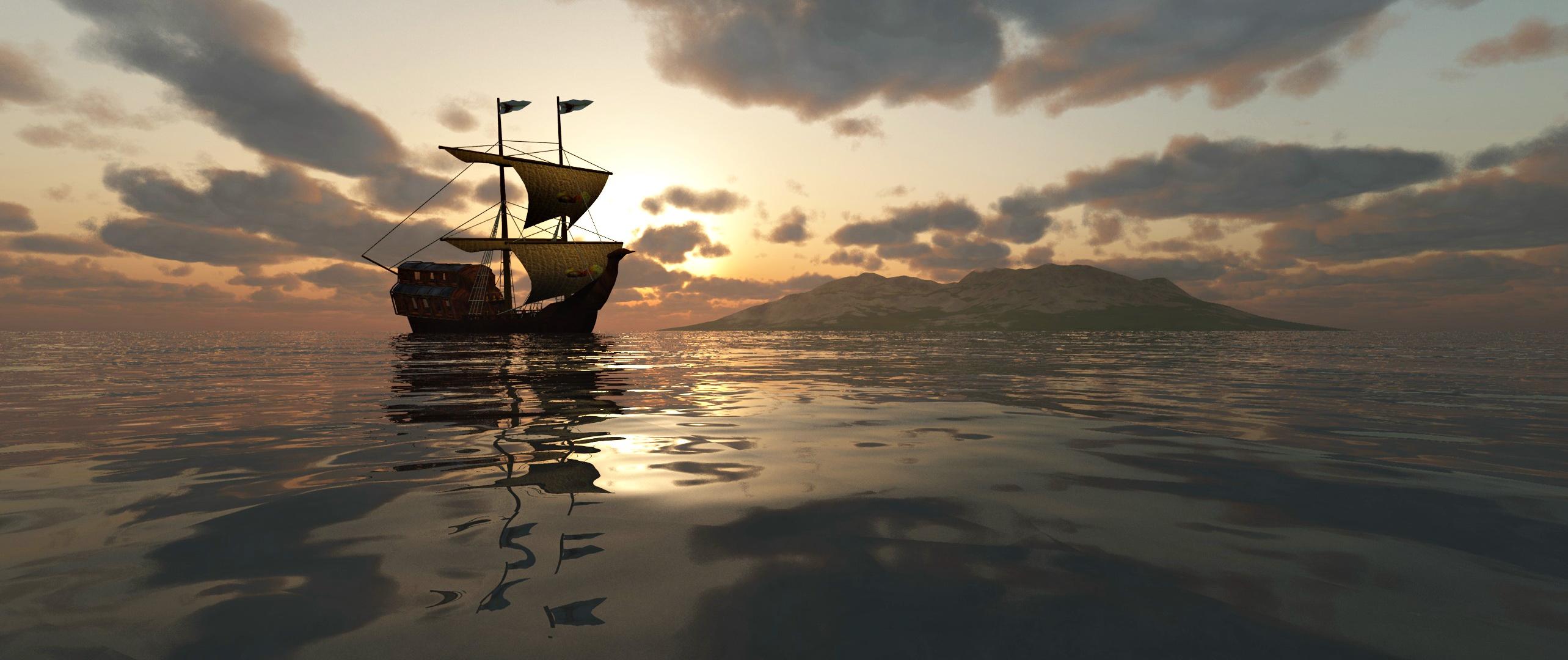 Segelboot und Meer ...