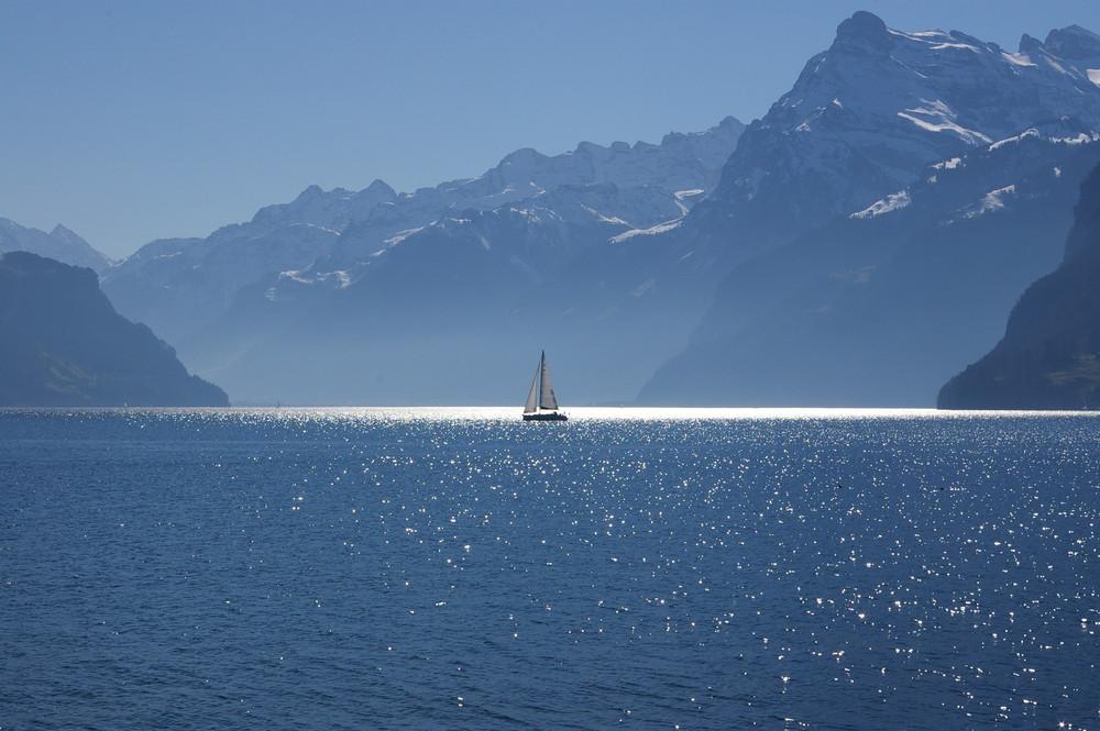 Segelschiff auf den Urner See mit Bergpanorama