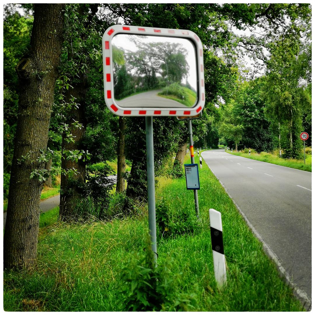 Seitenblick im Spiegel