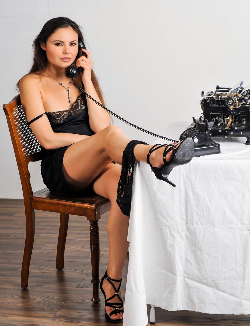 Sekretärin Mit Beinjob