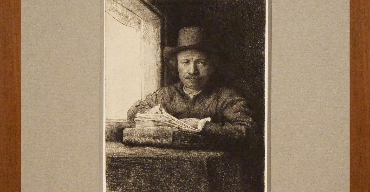 Selbstporträt, radierend bei einem Fenster...