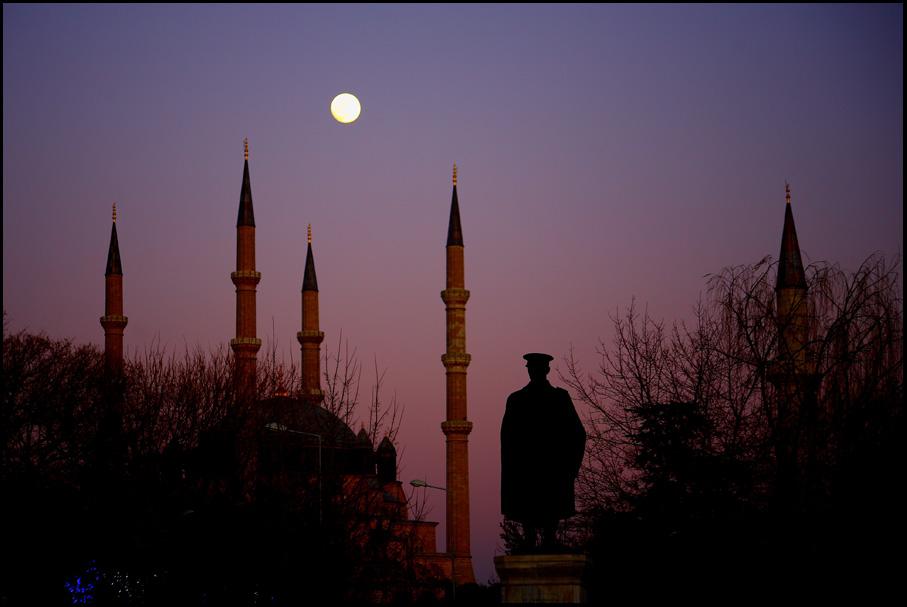 Selimiye Mosque-Moon and Atatürk Bust-Edirne-TURKEY
