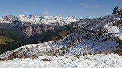Sellaschnee  am Ankunftstag in den Dolomiten