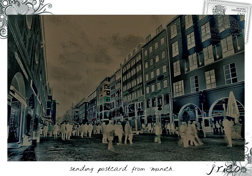 -sending postcard from munich-