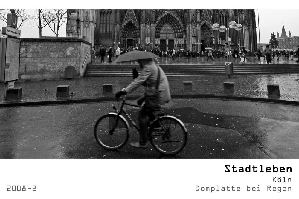 Serie Stadtleben 2008-2 - Köln Domplatte bei Regen
