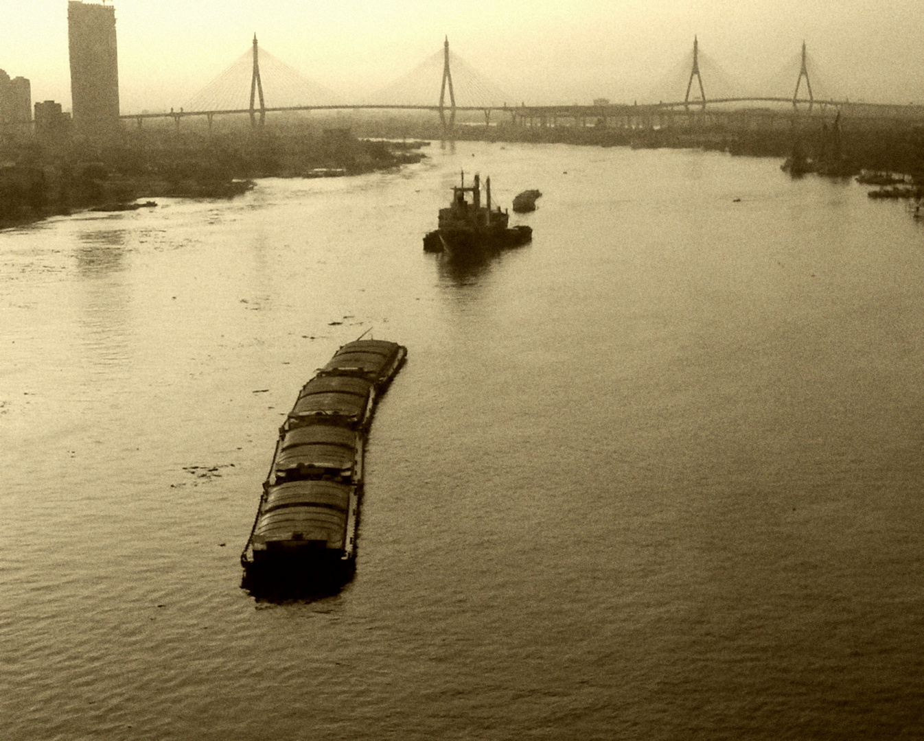 ship on river
