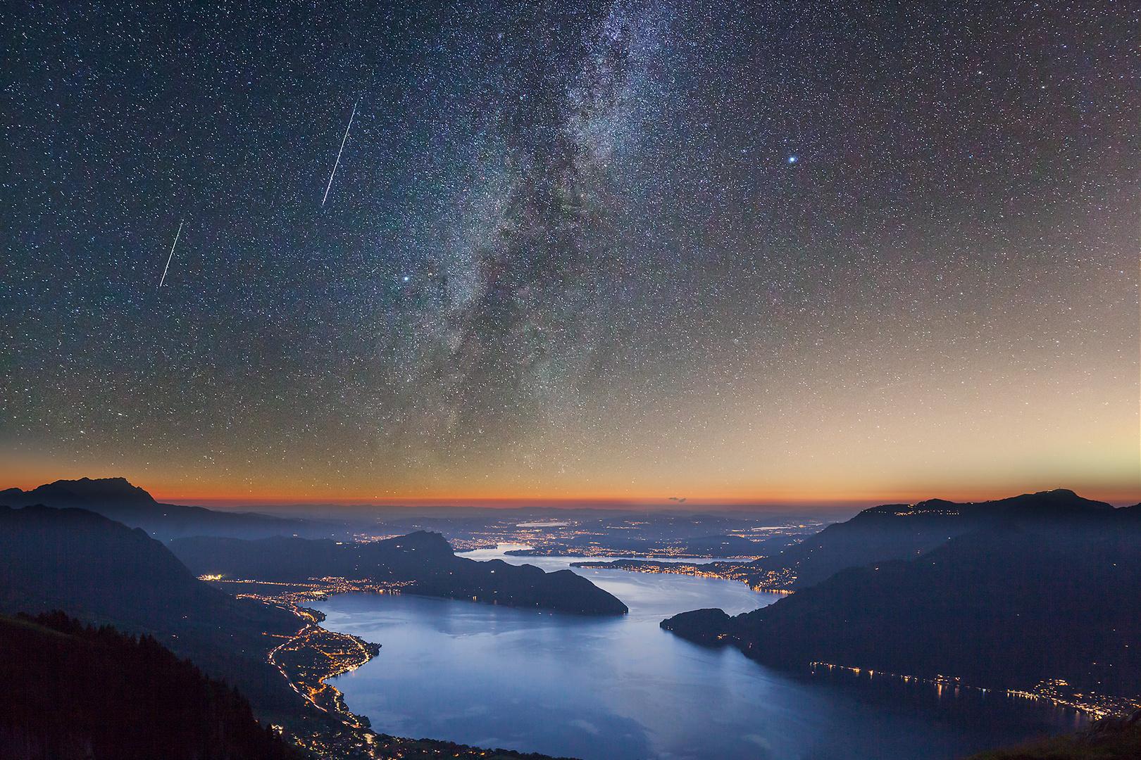 Shooting Stars over Lake Lucerne