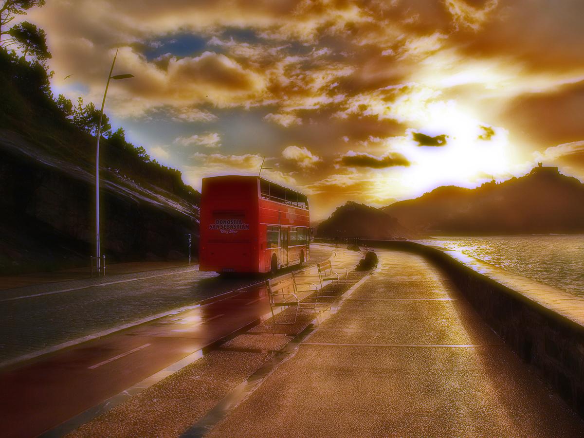 Si llueve en autobús