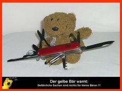 Sicherheitshinweis vom gelben Bär