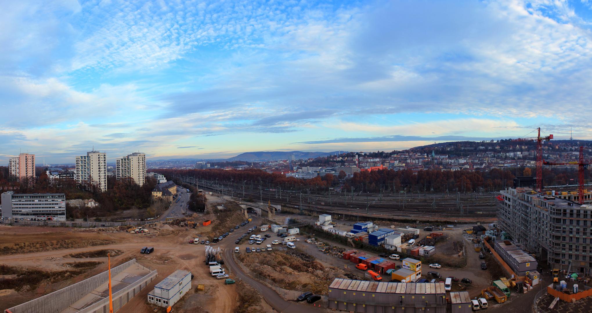 Sicht aus der neuen Stuttgarter Stadtbücherei