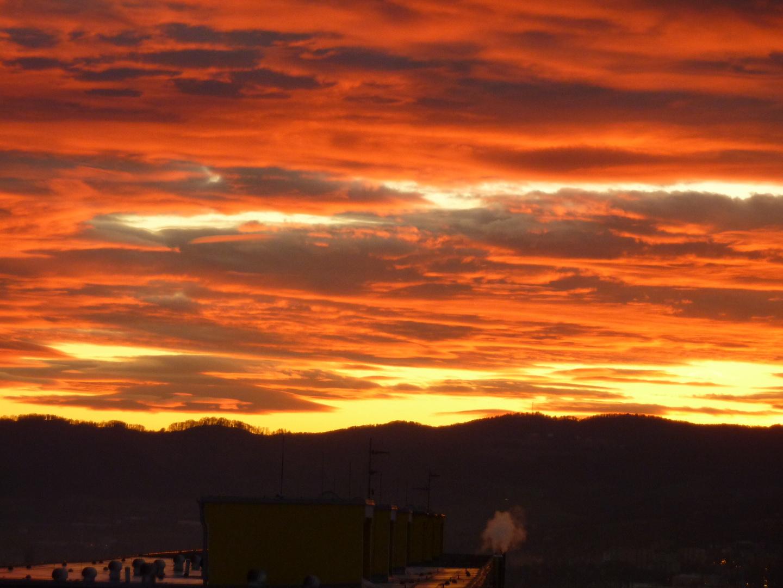 Siebenberge bei Sonnenuntergang.