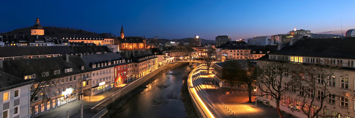Siegen neues siegufer foto bild nacht panorama architektur bilder auf fotocommunity - Architektur siegen ...