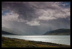 Silbern schimmert der Fjord