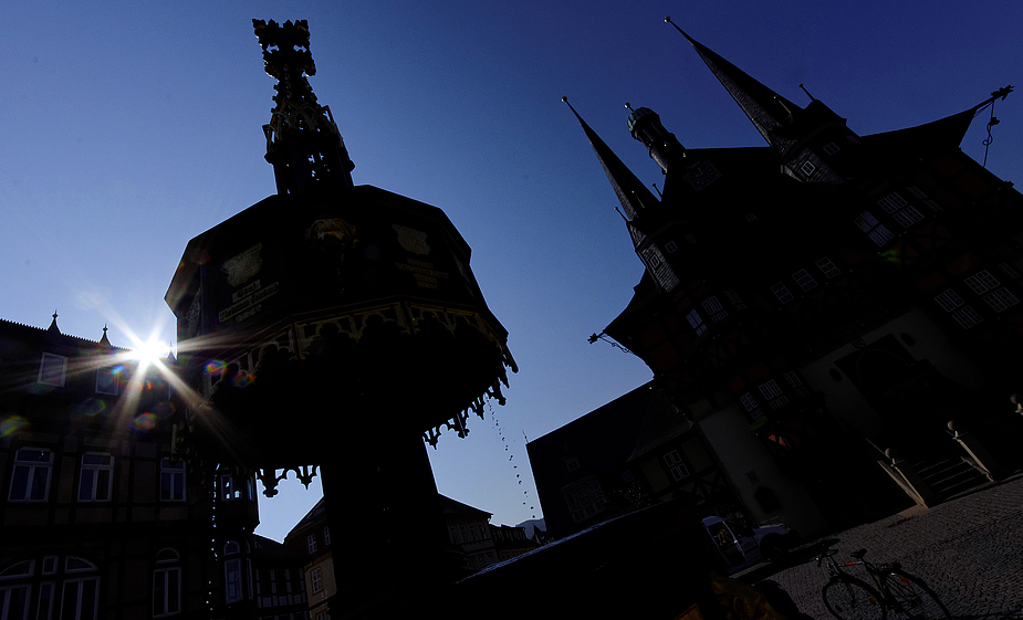 Silhouette des Rathauses Wernigerode