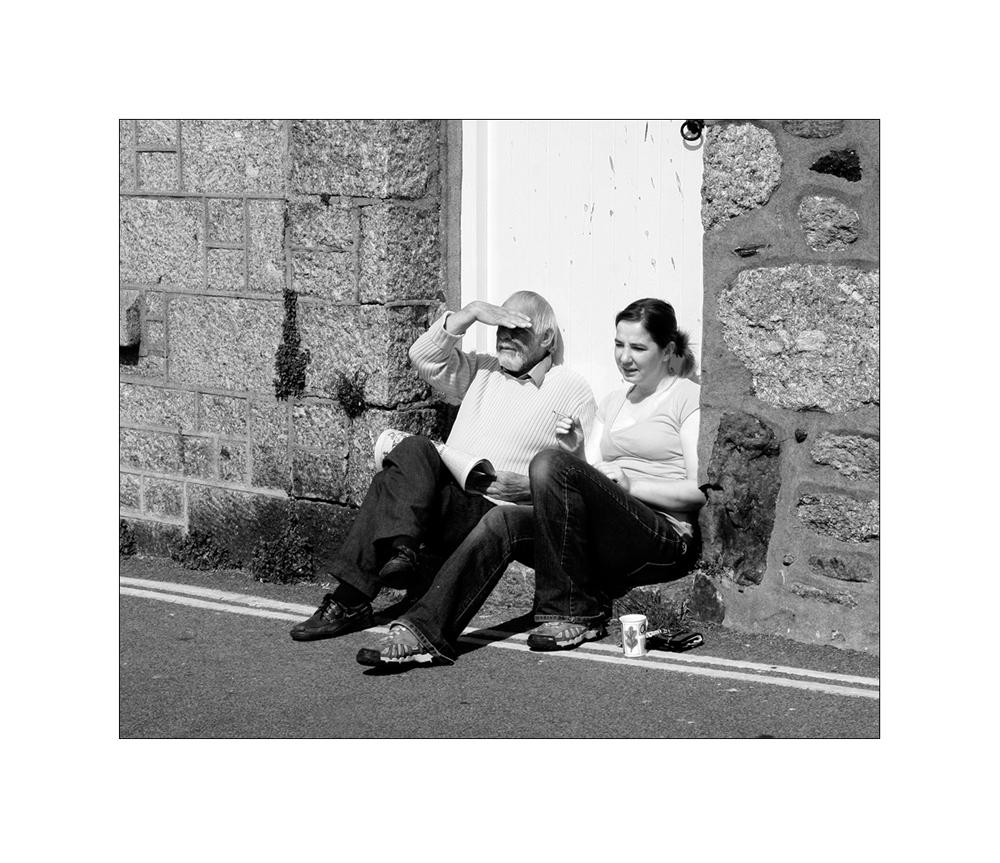 sitting on the street