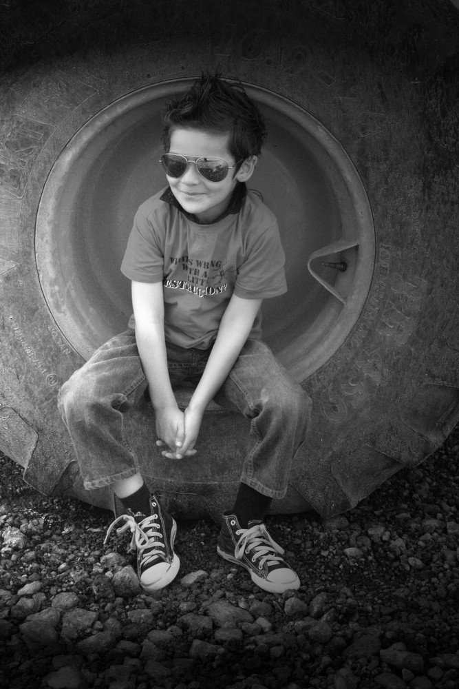 sitting on the tire