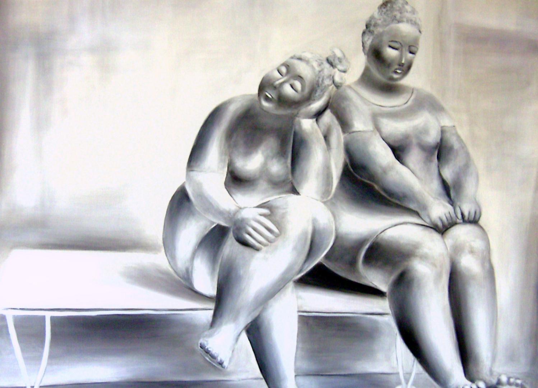 Skulpturen in Grisaille Malerei 100cm x 80cm