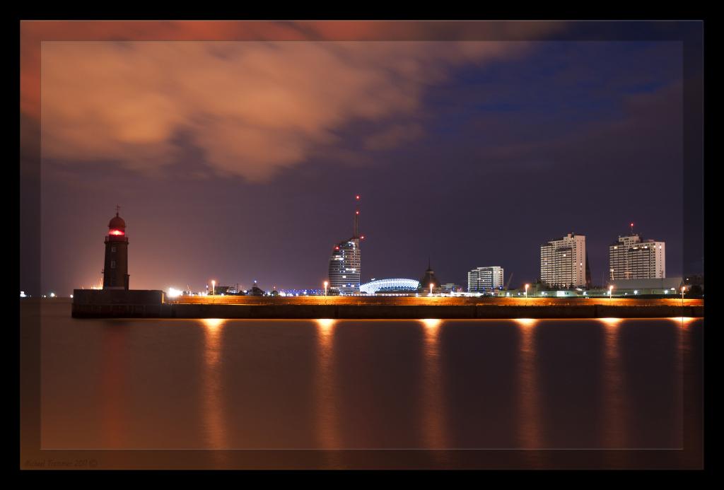 Skyline Bremerhaven gesten Nacht