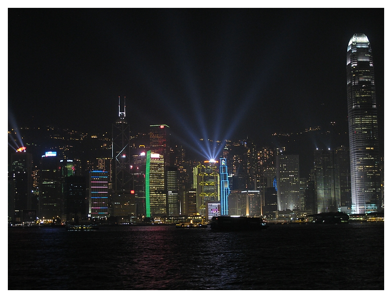 Skyline of Hong Kong at Evening with Lightshow