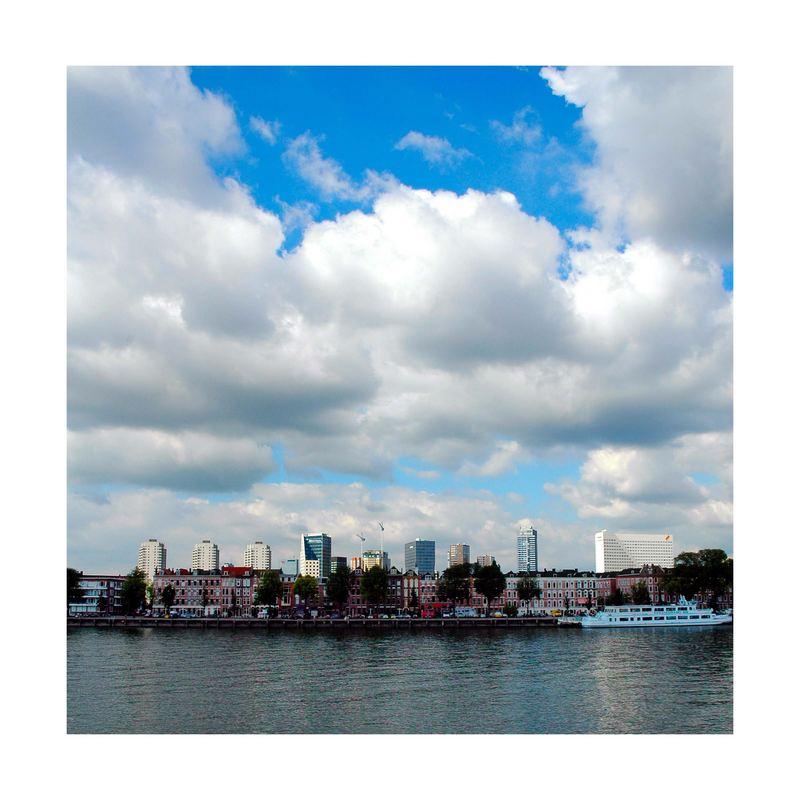 Skyline of Rotterdam behind the Noordereiland