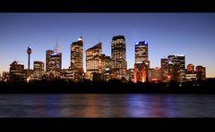 Skyline Sydney in der Abenddämmerung