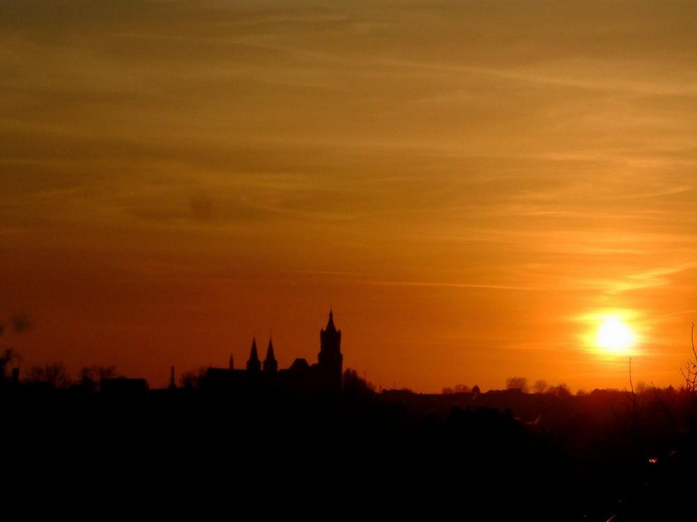 Skyline von Kleve beim Sonnenuntergang - 15. Januar 2005