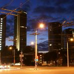 Skyline von Vilnius (Litauen) am späten Abend