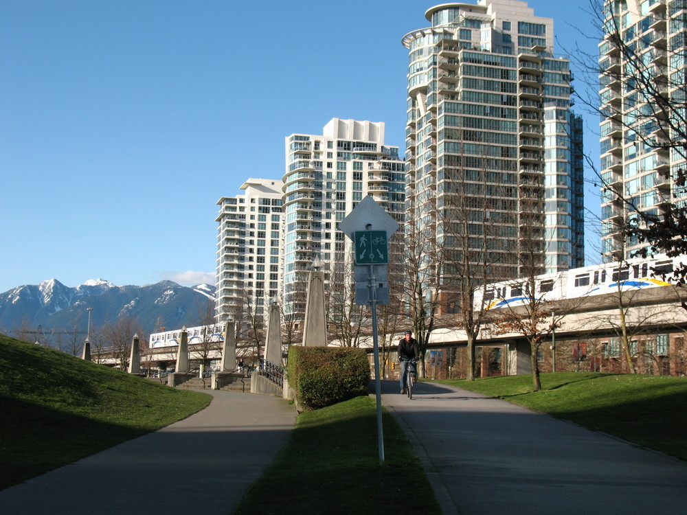 Skytrain & Houses & Mountains