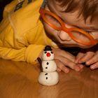Small snowman & little boy