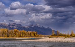 Snake River gegen Teton Range, Wyoming, USA