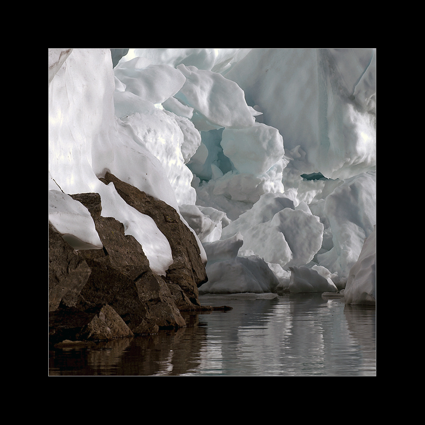 snow, ice, water and rocks