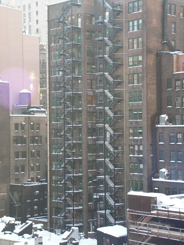 Snow on the fire escapes