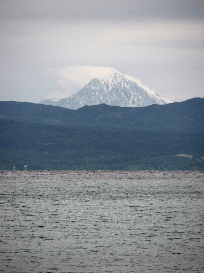 SNOWCAPPED MOUNT ATHOS FROM CASSANDRA